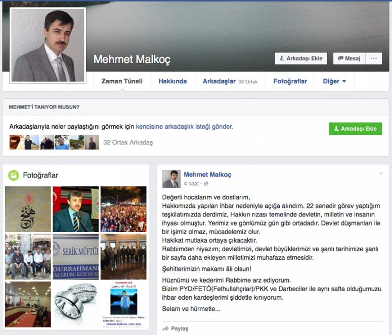 """Müftü Malkoç, """"Devlet düşmanları ile işimiz olmaz"""""""