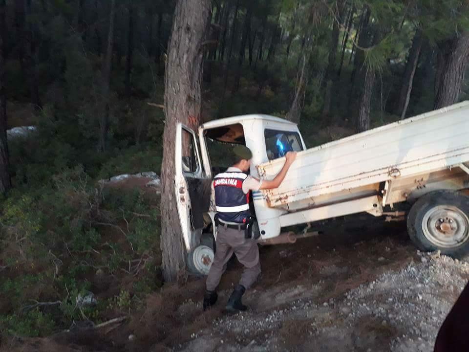 Ağaca Vurarak Duran Kamyonet'te: 4 Yaralı