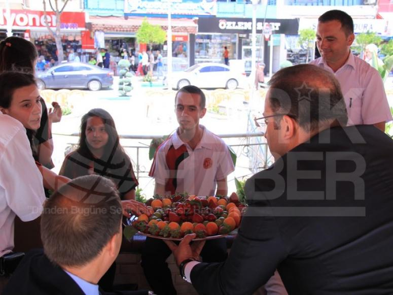 Çilek Festivalinde, Vali Vatandaşlara Çilek İkram Etti